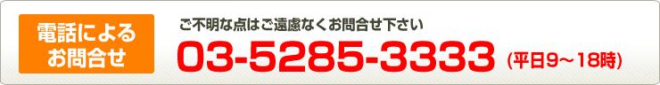 お電話によるお問合せ 03-5285-3333